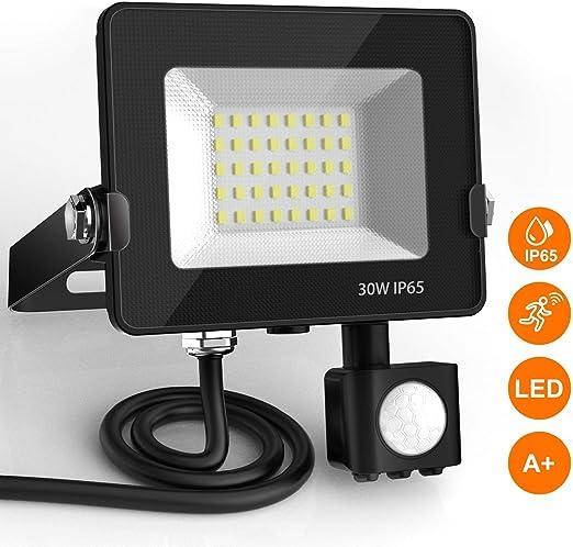 Focos LED con Sensor de Movimiento, BEIEN 30W 2400LM Foco Exterior ...