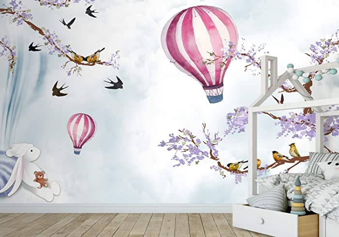 Amazoncom Murwall Kids Wallpaper Hot Air Balloon Wall Mural Purple