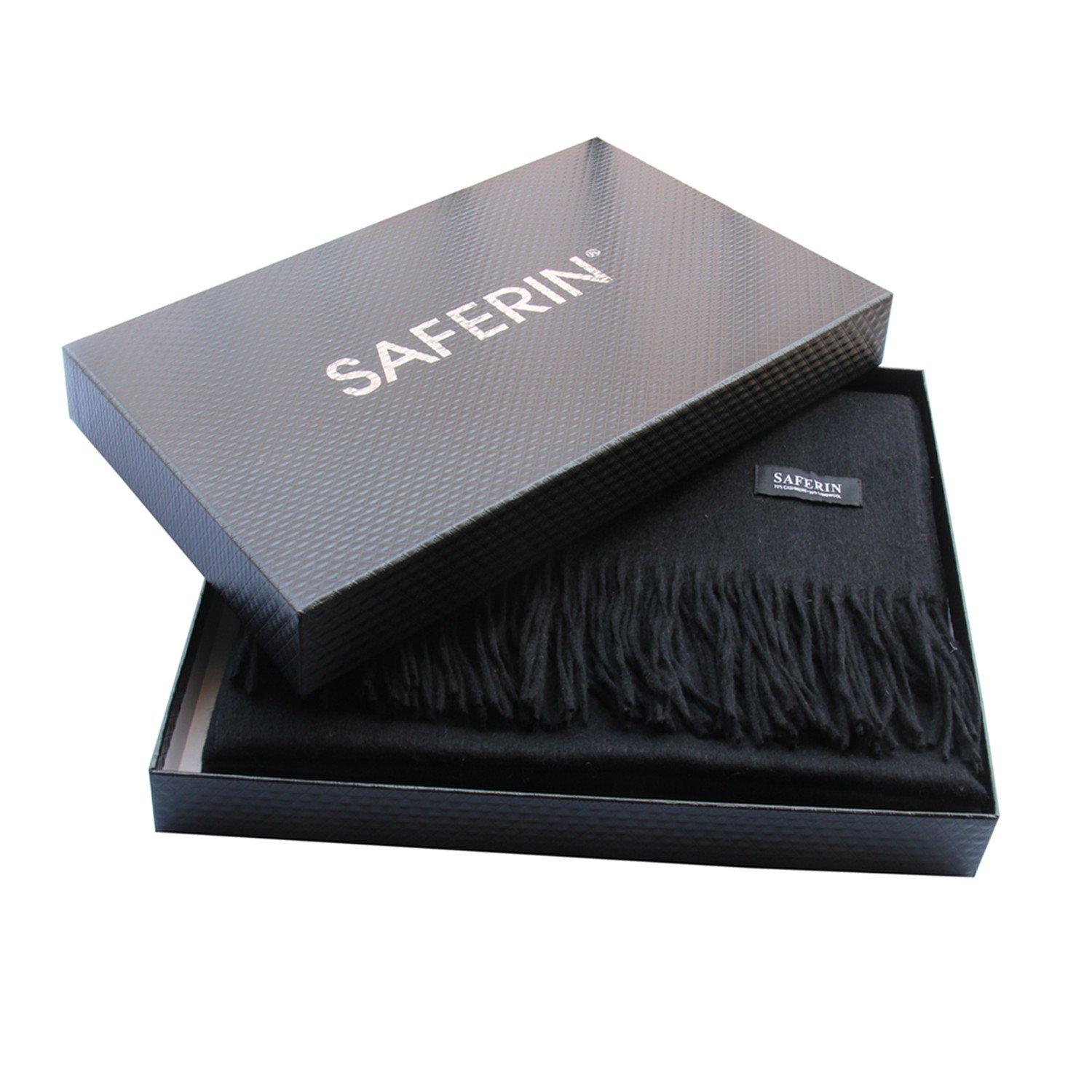 Saferin Extra Large 78'' X 28'' Women and Men Thick Solid Cashmere Pashmina Wrap Shawl Scarf with Gift Box(1.black) by SAFERIN (Image #5)