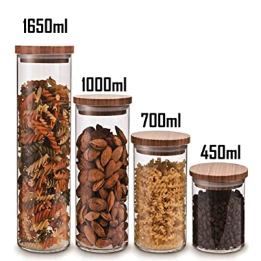 Cozy Homy Clear Glass Snack Sugar Tea Storage Jar Bottle Round Shape Glass Food Storage Jar Set Kitchen Canister with Airtight Bamboo Lid Seal (4 PCS Set)