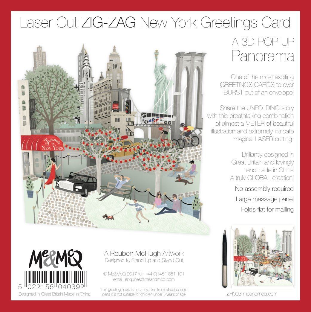 Laser Cut Zig Zag New York Greetings Card Amazon Office Products