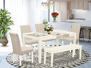 East West Furniture 6Pc Dining Set Includes a Rectangle Dinette Table and Four Parson Chairs with Cream Fabric and a Bench, Linen White Finish