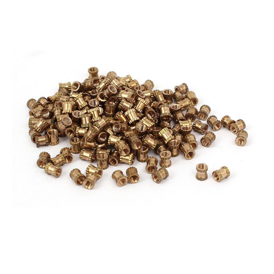 M2.5 x 4 mm 3.5 mm OD Brass Threaded Insert recessed knurled nut 200 Pieces