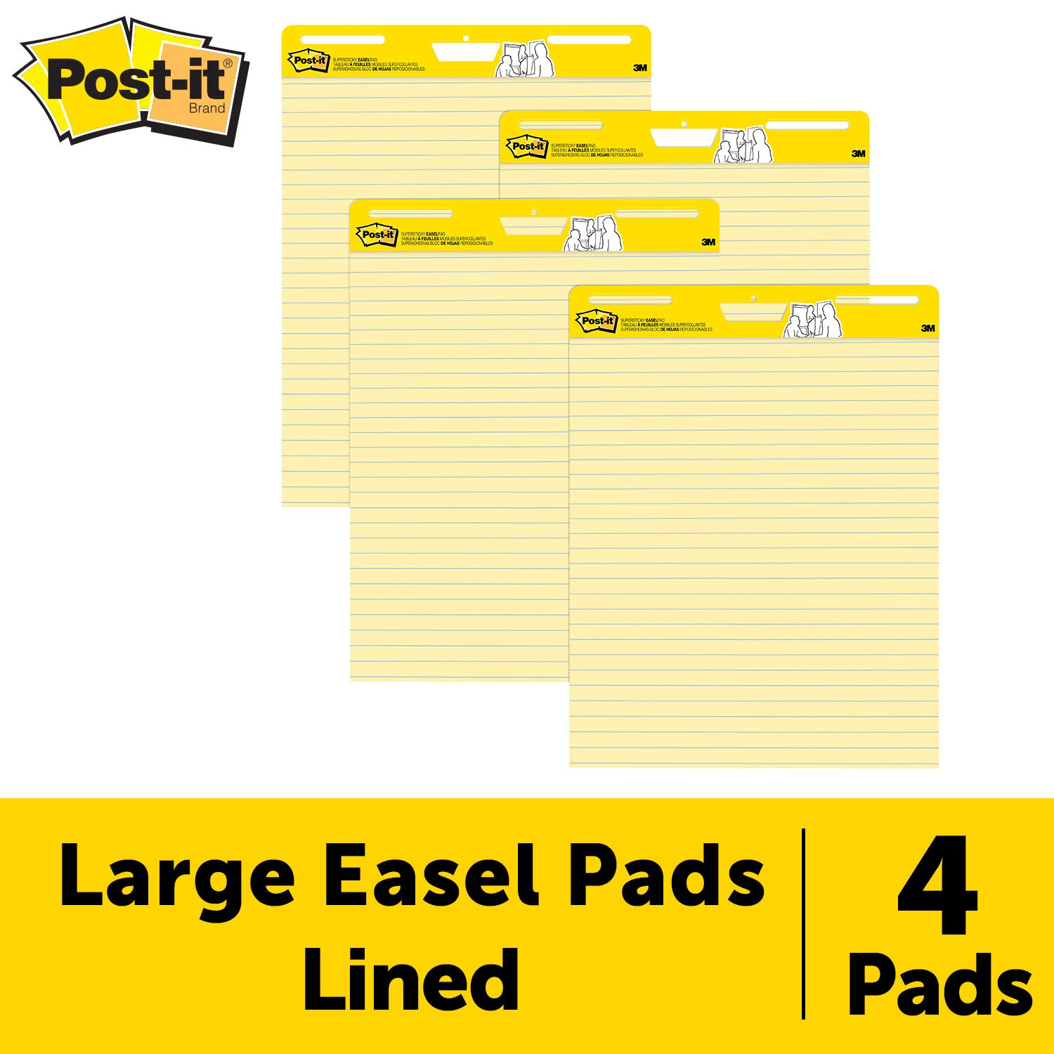 Post-it Super Sticky Easel Pad, 25 x 30 Inches, 30 Sheets/Pad, 4 Pads (561VAD4PK), Yellow Lined Premium Self Stick Flip Chart Paper, Super Sticking Power by Post-it