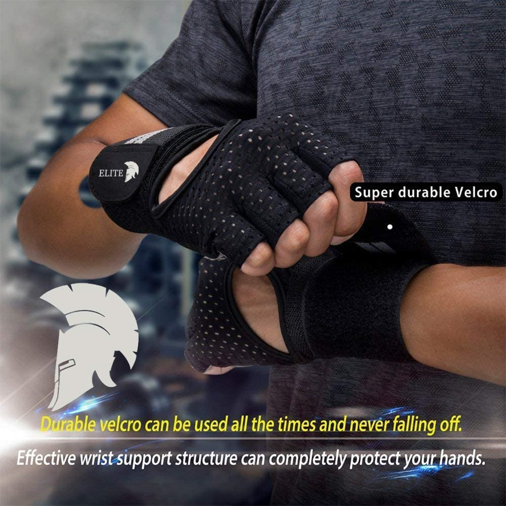 Elite Fitness Padded Gym Workout Gloves Breathable Fabric Wrist Support Non Slip Grip
