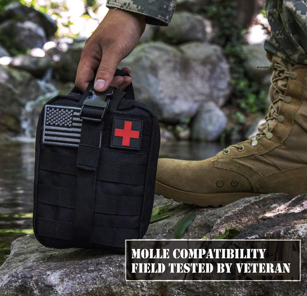 EVERLIT 250 Pieces Survival First Aid Kit IFAK Molle System Compatible Outdoor Gear Emergency Kits Trauma Bag for Camping Boat Hunting Hiking Home Car Earthquake and Adventures (Red) by EVERLIT (Image #5)