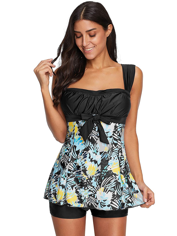 Zando Tummy Control Tankini Swimdress for Women Slimming Skirt Print Swimsuit with Boyshorts MNFULDS2113G0000