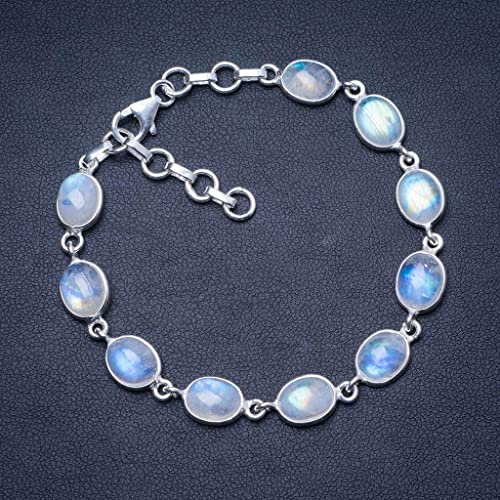 Natural Rainbow Moonstone 925 Sterling Silver Bracelet 7 1 4-8 1 4 Q2820