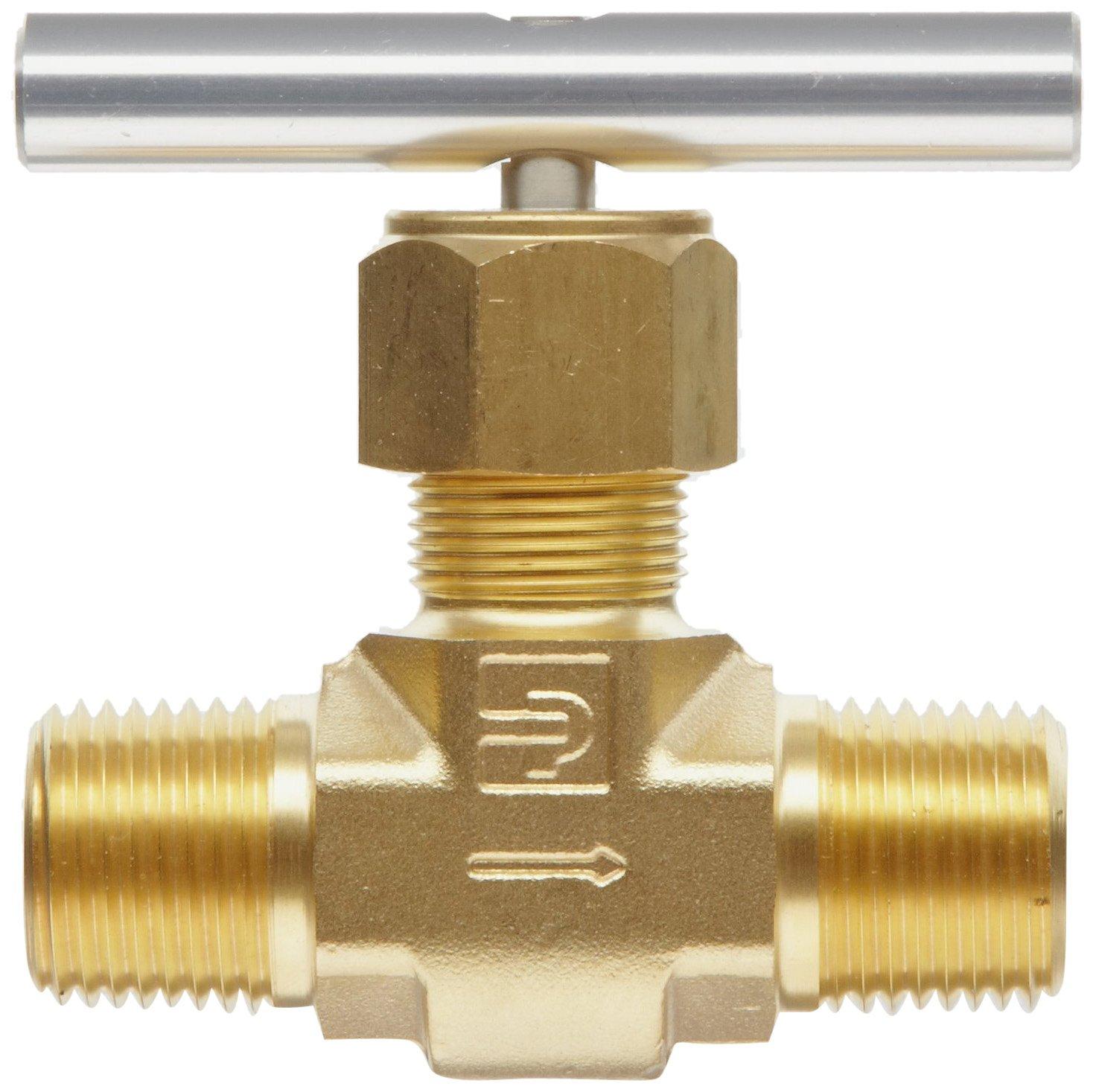 Inline Parker V Series Brass Needle Valve 3//8 NPT Male Blunt Stem Hand Wheel