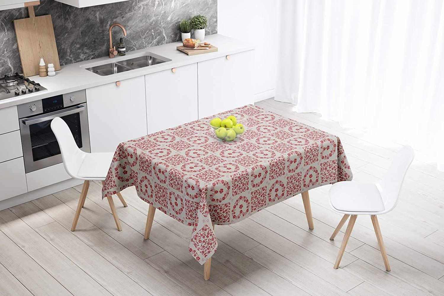 Modern Hearts Flowers PVC Wipe Clean Vinyl Tablecloth ALL SIZES Code C72-2