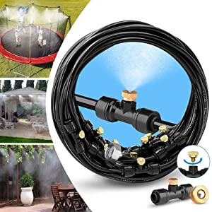 BYBAG Misting Cooling System Water Misters for DIY A Cooling Outdoor Patios.33FT (10M) Mist Line + 10 Brass Misting Nozzles + A Brass Adapter for Outside Patio Garden Greenhouse Trampoline Sprinkler