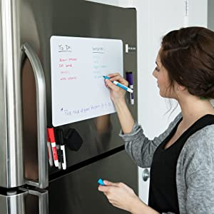 Magnetic Dry Erase Whiteboard Sheet for Kitchen Fridge: with Stain Resistant Technology - 25x16 - Includes 4 Markers and Big Eraser with Magnets - Refrigerator White Board Organizer and Planner