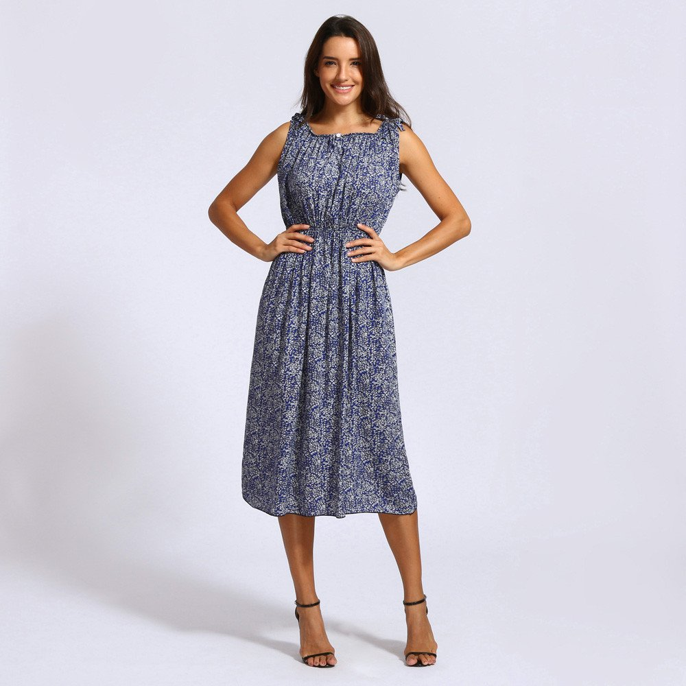 57c6f3f10a Women's Dresses Sleevless Summer Floral Dress Knee Length Casual Boho Print  Swing Midi Dress Loose Holiday Beach Sundress for Ladies Teen Girls Evening  ...
