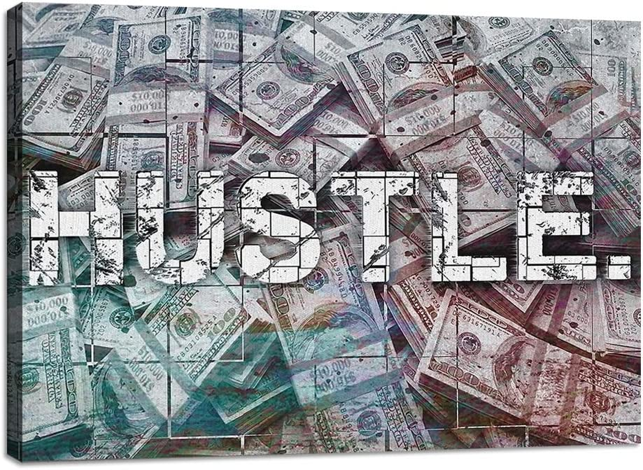 """Motivational Hustle Wall Art Inspirational Entrepreneur Quotes Office Decor Canvas Painting Inspiring Poster Pictures Prints Framed Artwork Office Living Room Decorations Wall Decor - 12""""Hx18""""W"""