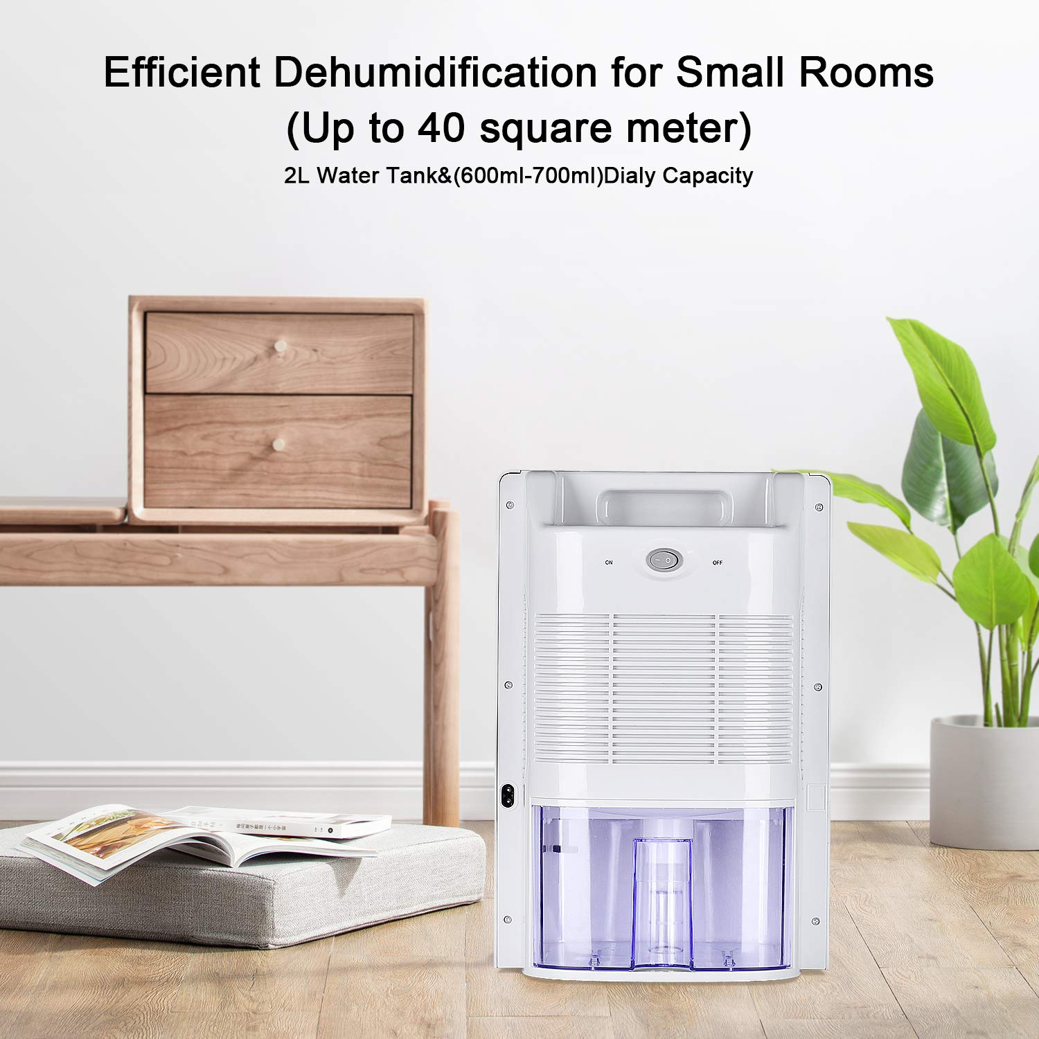 Gocheer Dehumidifier with 2000ml Water Tank, Portable Low Weight Whisper-Quiet Mini Electric Home Dehumidifier for Moisture Mould Damp in Bedroom, Office, Bathroom, Garage,Garage(300 sq ft)