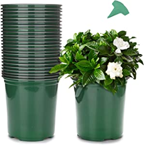 GROWNEER 24 Packs 0.7 Gallon Flexible Nursery Pot Flower Pots with 15 Pcs Plant Labels, Plastic Plant Container Perfect for Indoor Outdoor Plants, Seedlings, Vegetables, Succulents and Cuttings, Green