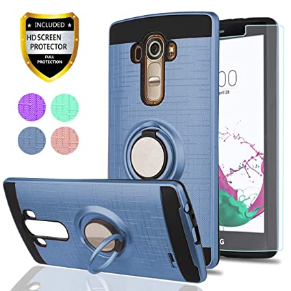 LG G4 Case, LG G4 Phone Cases with HD Phone Screen Protector,YmhxcY 360  Degree Rotating Ring & Bracket Dual Layer Resistant Back Cover for LG G4  (5 5