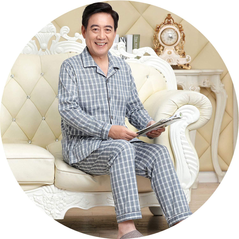 crazy-shop Male Pajama Set Cotton Pajama Man Suit Turn-Down Collar Solid Pyjama Men Full Sleeve Striped Pijama Men XXXL,Men Pyjama blue3,XL