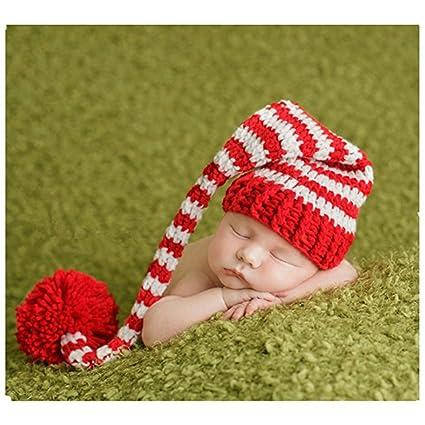 Bebé recién nacido fotografía apoyos niño Niña Crochet para adulto gorro de larga cola de Navidad