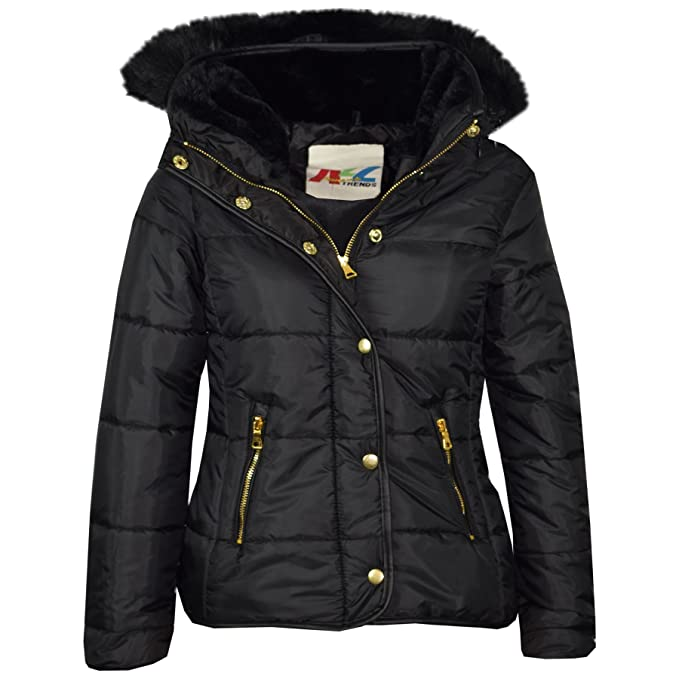 A2Z 4 Kids® Girls Jacket Kids Designer's Black Padded Puffer Bubble Faux Fur Collar Quilted Warm Thick Coat Jackets Age 3 4 5 6 7 8 9 10 11 12 13