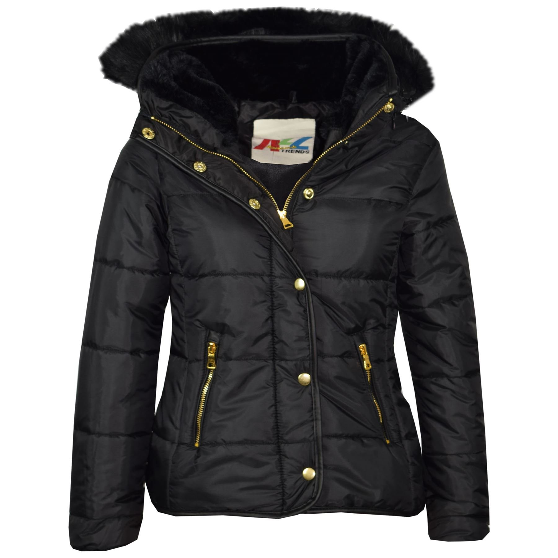 A2Z 4 Kids® Girls Jacket Kids Black Padded Puffer Bubble Fur Collar Quilted Warm Thick Coats