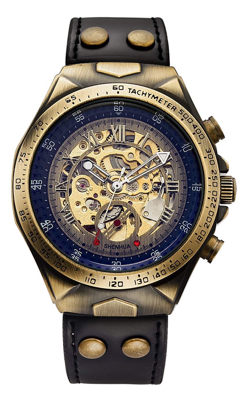 Luxury Automatic Mechanical Men's Leather Belt Fashion Business Bronze Steel Waterproof Skeleton Watches 4