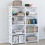 Shelves 4 Tier DIY Bookcase, Open Organiser Closet Cabinet, 8 Cube Modular Storage Shelves Organiser Rack, for Books…