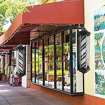 Barber Pole Led Light Exterior Poste De Barbero Luminoso De Exteriores Para Peluquerías Profesional Lámpara De Pared Vintage - Luz de la corte del patio Rojo Azul Y Blanco Negro Rayas 78cm/31in,F1: