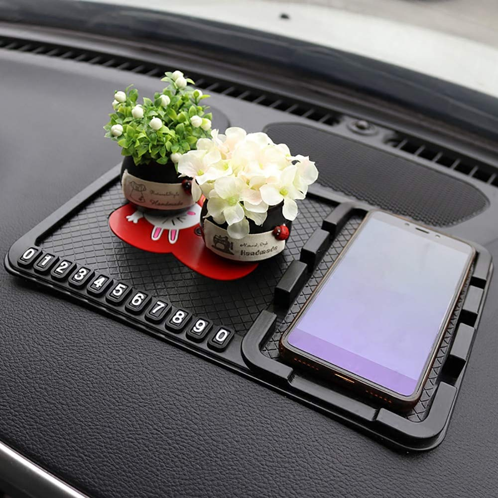 Car Ornament PVC Cute Decoration Dashboard Anti Slip Mat Non-slip Pad With Phone Number Prompt Automobiles Interior Accessories (D) by MEMBRENA