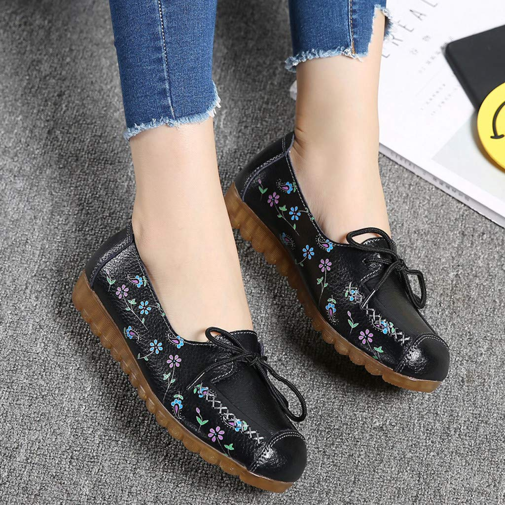 CUTUDE Womens Low-Top Flat Loafers with Printed Comfortable Casual Nurse Shoes