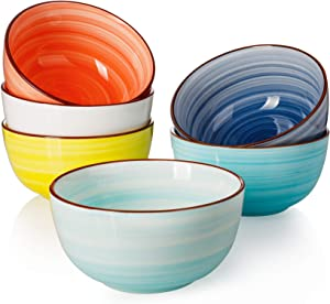 Sweese 127.002 Porcelain Bowls - 20 Ounce for Cereal, Soup, Rice, Salad - Set of 6, Hot Assorted Colors