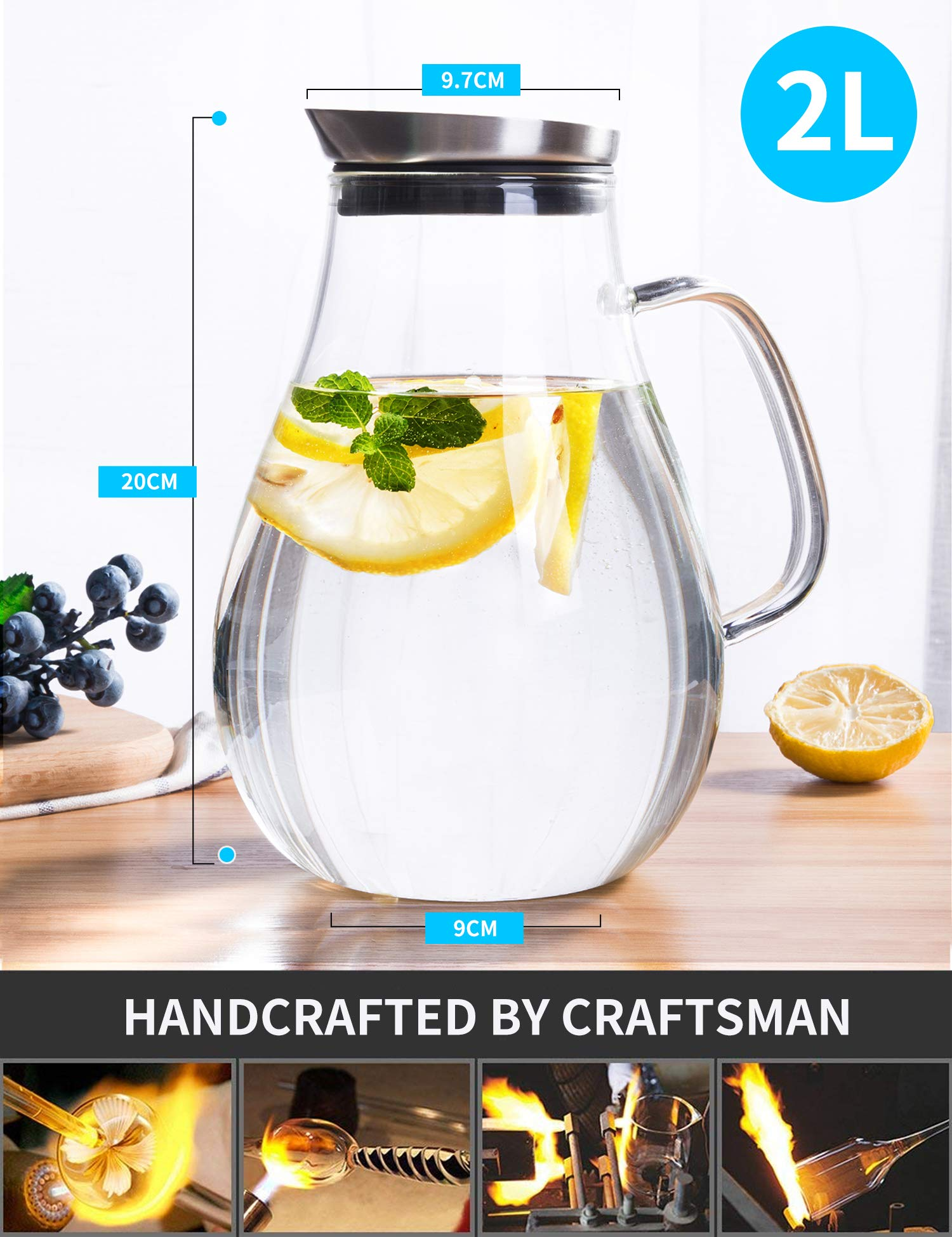 2.0 Liter Glass Pitcher with Lid, Water Carafe Jug for Hot/Cold Water, Ice Tea and Juice Beverage by susteas (Image #5)