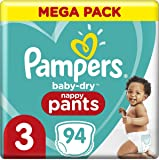 Pampers Baby-Dry Nappy Pants (6kg-11 kg) Size 3, 94 count