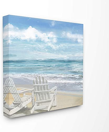 The Stupell Home D cor Collection White Adirondack Chairs on The Beach Painting Stretched Canvas Wall Art, 24 x 24, Multi-Color