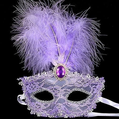 Lalang Halloween Masks Fancy Dress Masquerade Ball Feather Masks (purple)