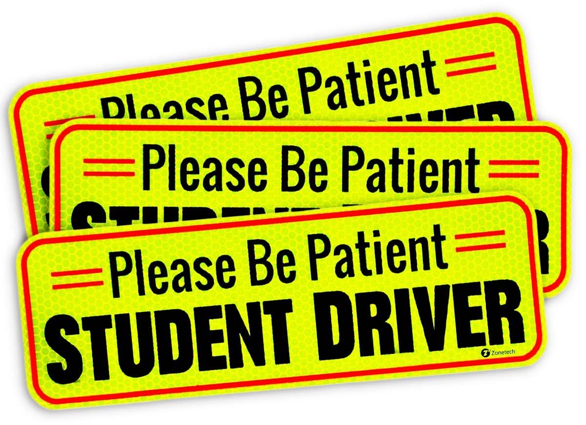 Zone Tech Vehicle Bumper Magnet - 3 Pack Premium Quality Please Be Patient Student Driver Effective Bumper Decal Neon Yellow Comfort Wheels