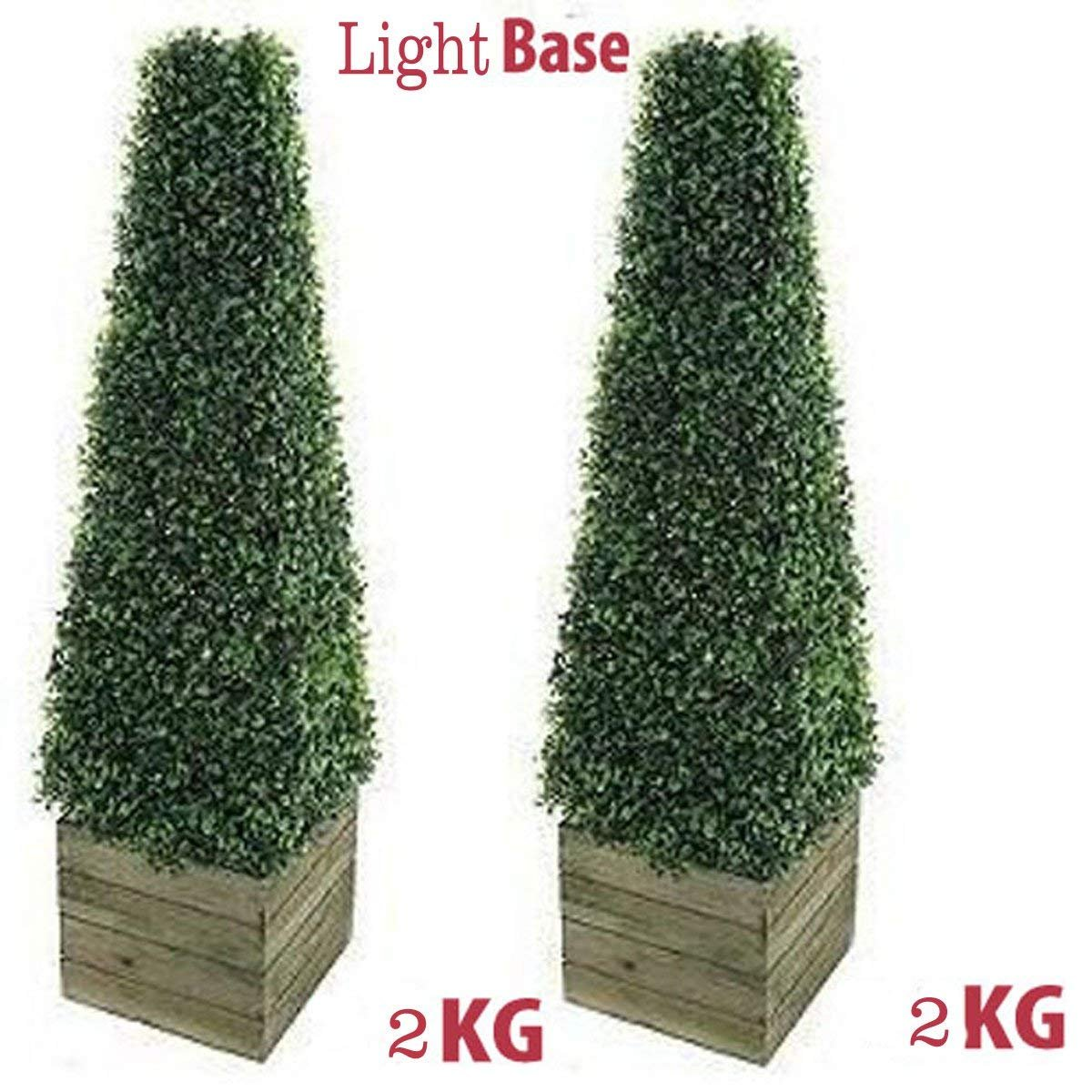Pair of stunning Artificial Trees 3ft Pyramid Cones includes wooden box stands - Indoor / outdoor artificial trees - Realistic Topiary trees Faux tree