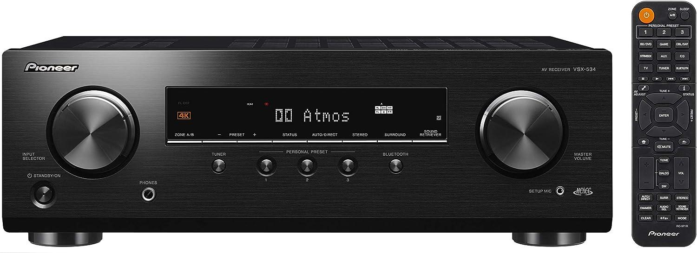 Pioneer Vsx-534-B Receptor (5X150 Vatios, Dolby Atmos, DTS:X, Virtualizador de Altura Dolby Atmos, Calibración Automática Mcacc, Recuperador de Sonido Avanzado, Bluetooth, USB)