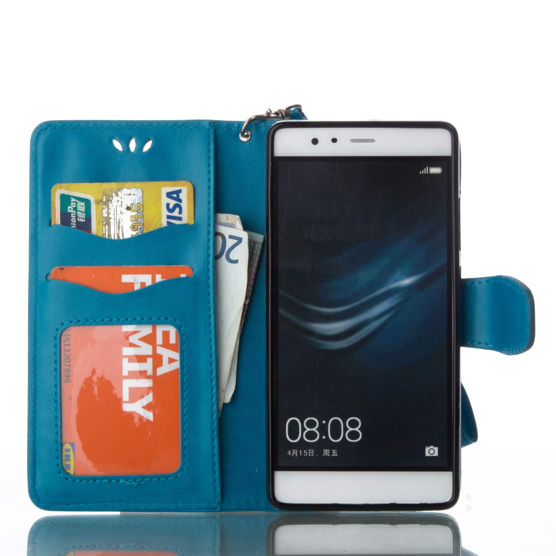 Custodia Libro Portafoglio Pelle PU con Funzione Supporto Chiusura Magnetica Brillantini Glitter Strass Flip Cover per Huawei P9-Blu SainCat Cover per Huawei P9