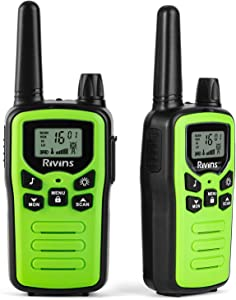 Rivins T5 Walkie Talkies for Adults Long Range 2 Pack 2-Way Radios Up to 5 Miles Range in Open Field 22 Channel FRS/GMRS VOX Scan LCD Display with LED Flashlight Ideal for Biking Hiking Camping(Green)