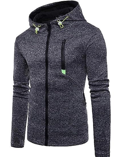 acdb94c6877 GAGA Men Fleece Jacket Mens Plus Size Zipper Cotton Hooded Sweatshirt at Amazon  Men s Clothing store