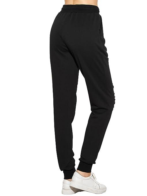 6ad64b3742c54 Amazon.com  SweatyRocks Women s Ripped Pants Drawstring Yoga Workout  Sweatpants Heather  Clothing