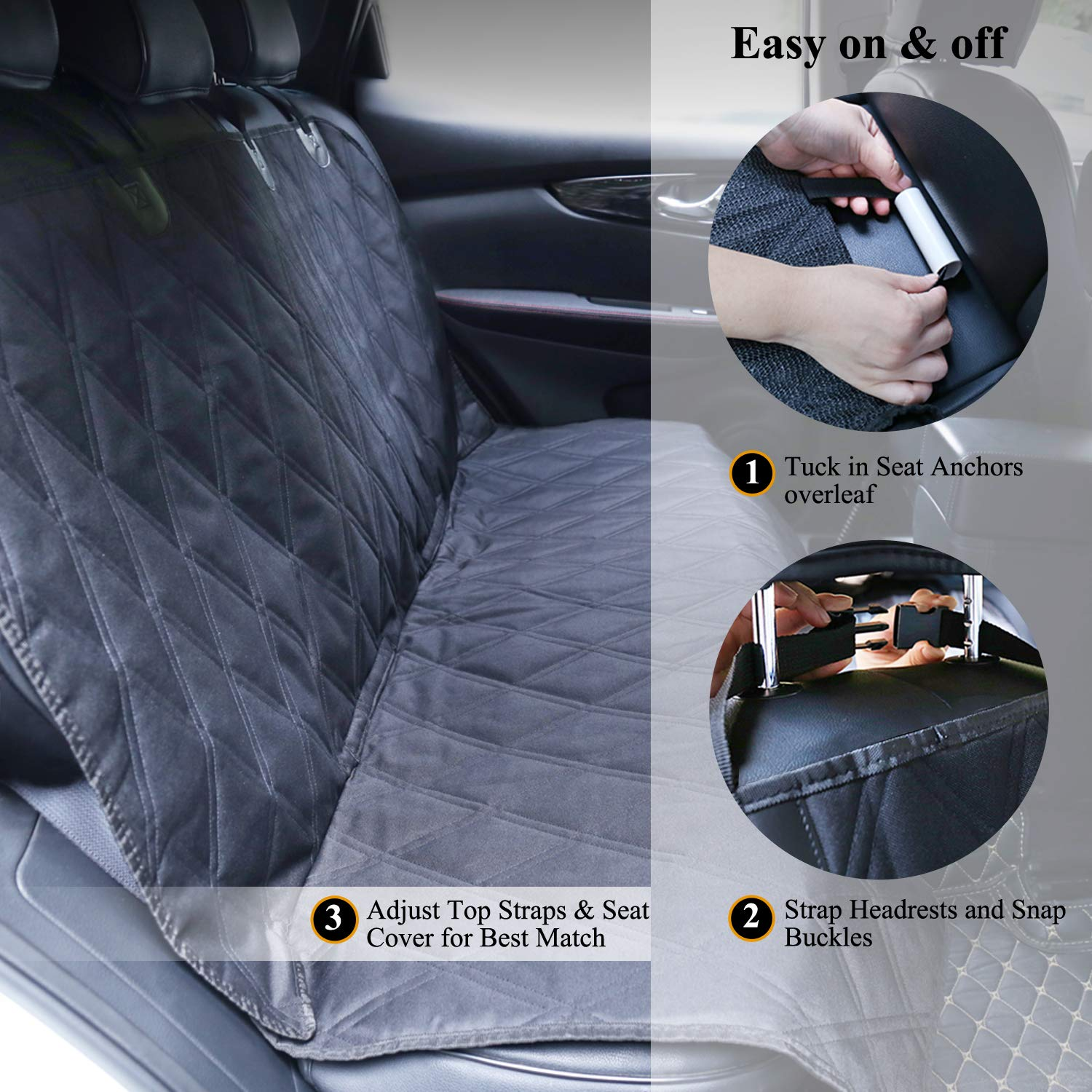 No-skirt Design Back Seat Protectors for Small /& Large Cars Vivaglory Dog Seat Covers SUVs /& MPVs Quilted 600D Oxford Pet Seat Cover Cream L