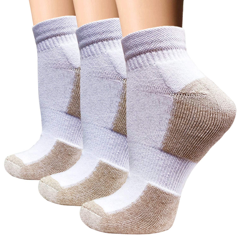 Copper Cushion Running Athletic Socks For Women Men - Antibacterial Cotton Crew Ankle Socks (3 Pairs White, S/M)