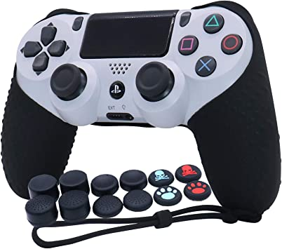 PS4 Controller Grip,RALAN Skin Silicone Gel Controller Cover Case Protector Compatible for PS4/PS4 Slim/PS4 Pro Controller (1x Controller Cover with 8 x FPS Pro Thumb Grip Caps+4 Paw Grips Caps).