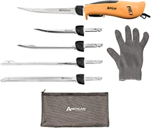American Angler PRO Professional Grade Electric Fillet Knife Sportsmen's Kit – 110 Volt High Performance Ergonomic Motorized Handset with Five Kinds of Stainless Steel Blades, 32352DS