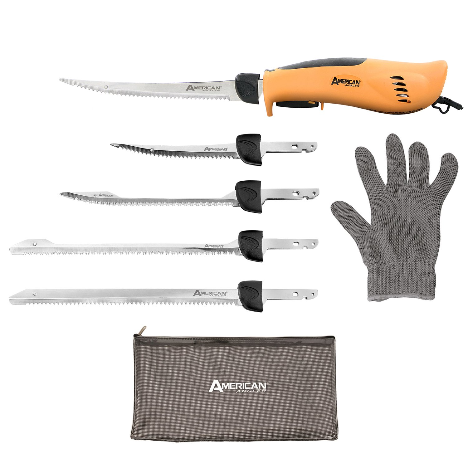 American Angler PRO Professional Grade Electric Fillet Knife Sportsmen's Kit – 110 Volt High Performance Ergonomic Motorized Handset with Five Kinds of Stainless Steel Blades, 32352DS by American Angler