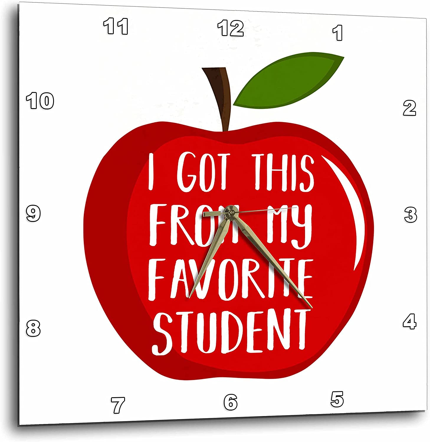 3dRose I got This from My Favorite Student Written Inside a red Apple. - Wall Clocks (DPP_348493_2)