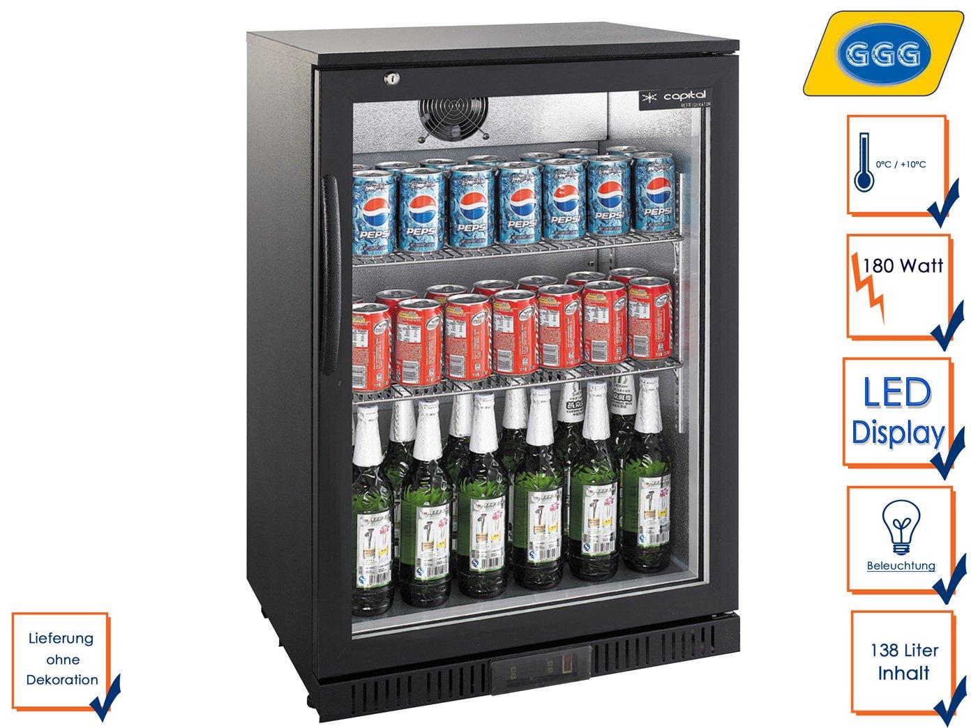 Profi Flaschenkühlschrank, 138 Liter, 0° C/ +10° C, Umluftkühlung ...