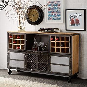 Verty Furniture Jali Urban Industrial Metall Und Holz Bar Schrank